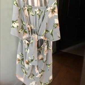 Floral front tie romper